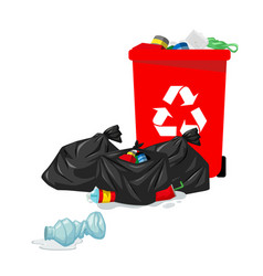 red garbage bin plastic recycle white background v vector image