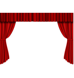 Red open curtain in theater velvet fabric cinema vector