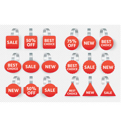 red sales tags wobblers with text collection tag vector image