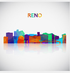Reno skyline silhouette in colorful geometric vector