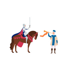 royal herald with trumpet and knight on horse flat vector image