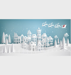 santa claus coming to city on a sleigh with deers vector image