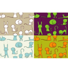 seamless doodle cats pattern vector image
