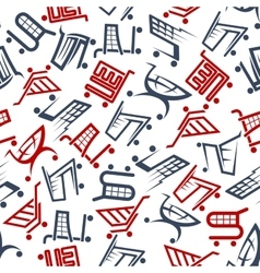 Seamless shopping carts and trolleys pattern vector image