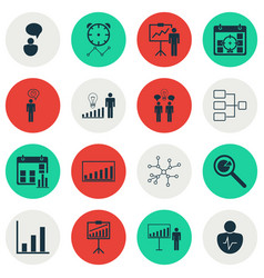 set 16 authority icons includes personal vector image