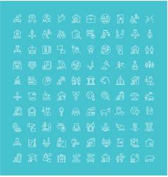 set line icons politics vector image