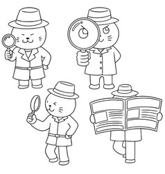 set of cat detective vector image