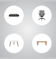 set of decoration realistic symbols with furniture vector image