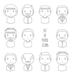 Set of line male faces icons Funny cartoon hand vector image