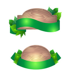 set of wooden boards with green ribbons and vector image