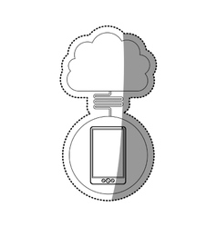 Smartphone and cloud computing design vector