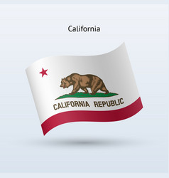 State of california flag waving form vector