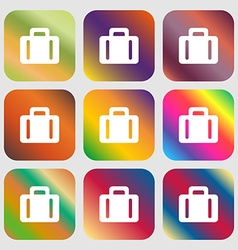 suitcase icon Nine buttons with bright gradients vector image