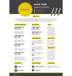 Template curriculum vitae yellow theme vector