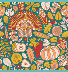 Thanksgiving day seamless pattern various vector