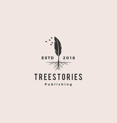 Tree quill feather ink root logo vintage retro vector