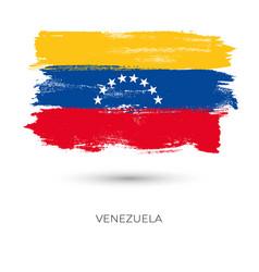 Venezuela colorful brush strokes painted flag vector