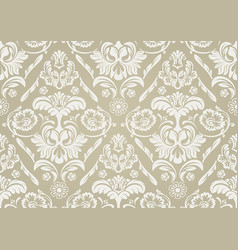 Wallpaper with white damask pattern vector