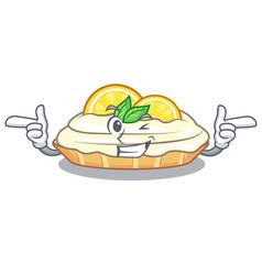Wink cartoon lemon cake with lemon slice vector