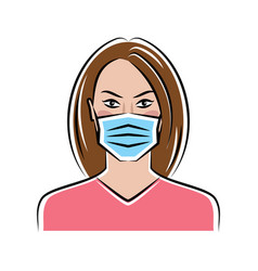 Woman in a medical mask vector