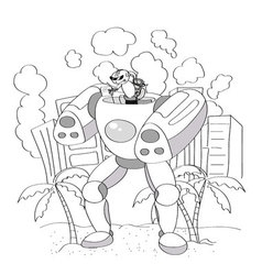 Black and White Cartoon of Happy Robot or Droid vector image