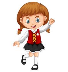 Girl wearing vest with switzerland flag vector