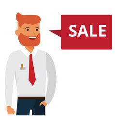 man says sale cartoon flat vector image vector image