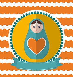 Matryoshka vintage card design Green and orange vector image