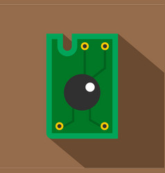 Processor chip icon flat style vector