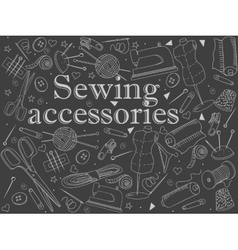 Sewing accessories chalk vector image