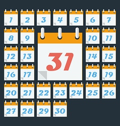 Calendar with days of month Flat style vector image vector image