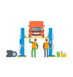 Car Repair Service Automobile Lifted vector image vector image