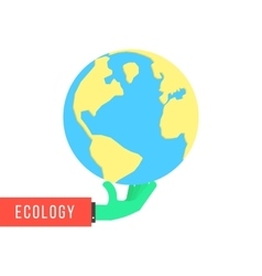 green hand with earth like environmental vector image