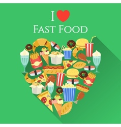 Poster with text I love fast food made in flat vector image
