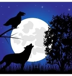 Silhouettes animal in the night vector image vector image