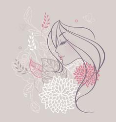 Women profile flowers vector