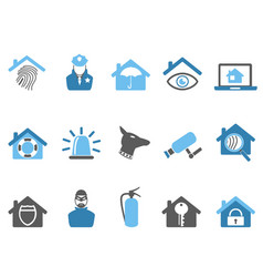 blue color home security icons set vector image