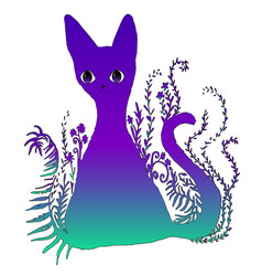 design is a bright colorful surreal surreal cat vector image vector image