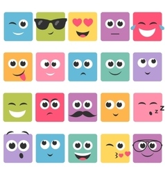 Emotional square colorful faces icon set vector image vector image