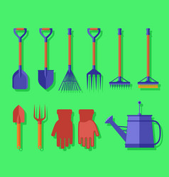 garden isolated tools on green background vector image