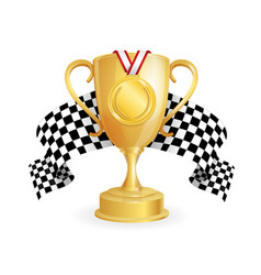 gold cup medal and checkered racing flag auto vector image vector image