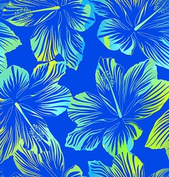 Tropical flowers blue seamless pattern with vector image vector image