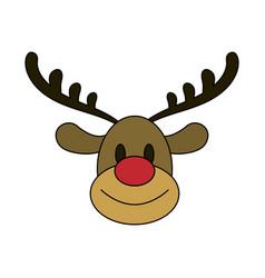 Color image cartoon cute face reindeer animal vector