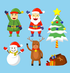 flat cute christmas character vector image