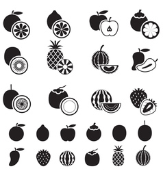 Fruits and Piece of Fruits Icons BW vector image vector image