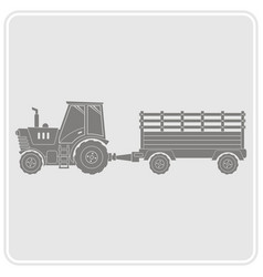 icon with farm tractor and trailer vector image