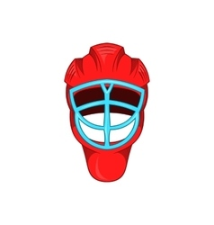 Red hockey helmet with cage icon cartoon style vector