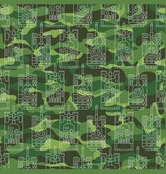 seamless pattern with tanks on camouflage vector image vector image