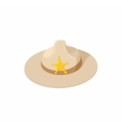 Sheriff hat icon cartoon style vector image