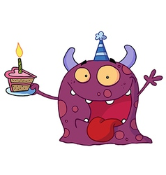 Spotted Purple Birthday Monster vector image vector image